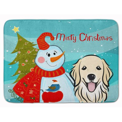 Snowman with Retriever Memory Foam Bath Rug