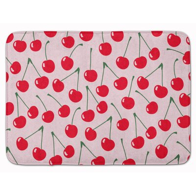 Cherries Memory Foam Bath Rug Color: Pink