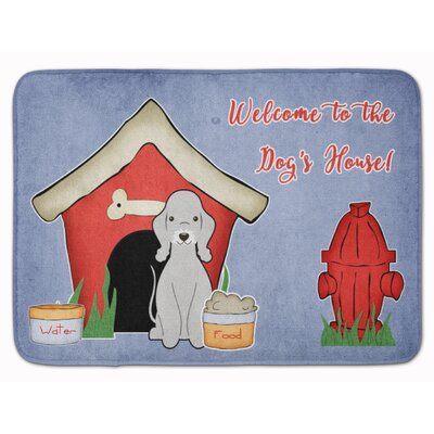 Dog House Bedlington Terrier Memory Foam Bath Rug Color: Blue