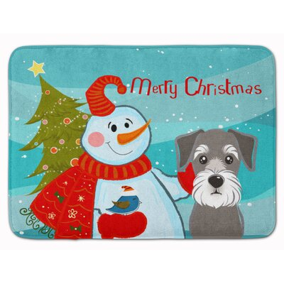 Snowman with Schnauzer Memory Foam Bath Rug