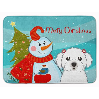 Snowman with Maltese Memory Foam Bath Rug