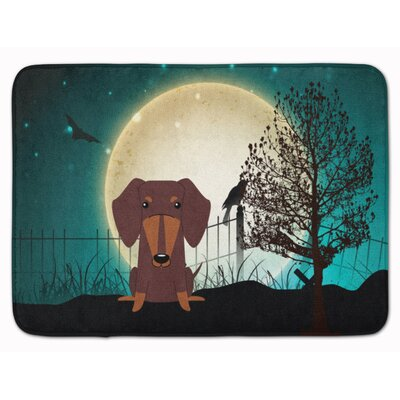 Halloween Scary Dachshund Memory Foam Bath Rug Color: Chocolate