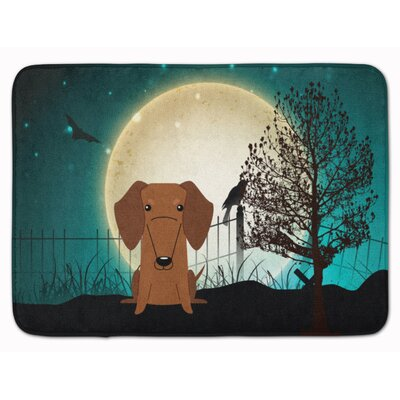 Halloween Scary Dachshund Memory Foam Bath Rug Color: Red/Brown