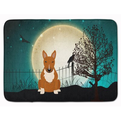 Halloween Scary Bull Terrier Memory Foam Bath Rug Color: Red
