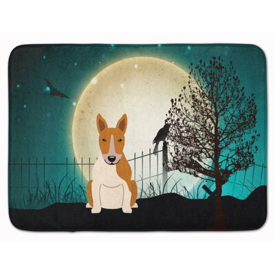 Halloween Scary Bull Terrier Memory Foam Bath Rug Color: Red/White
