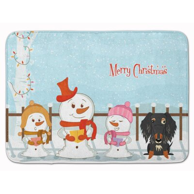 Christmas Wire Haired Dachshund Dapple Memory Foam Bath Rug