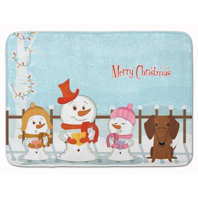 Merry Christmas Dachshund Memory Foam Bath Rug Color: Brown