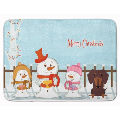 Merry Christmas Dachshund Memory Foam Bath Rug Color: Chocolate