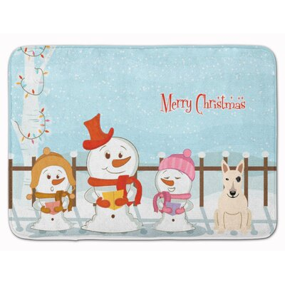Christmas Bull Terrier Memory Foam Bath Rug Color: White