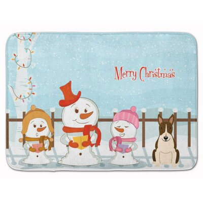 Christmas Bull Terrier Memory Foam Bath Rug Color: Brown/White