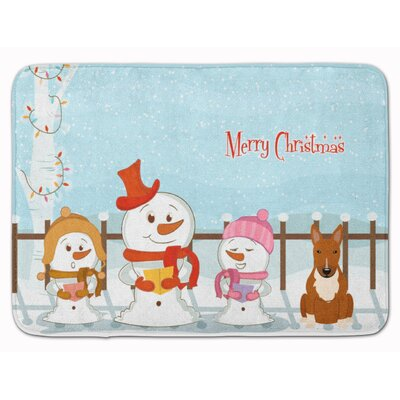 Merry Christmas Bull Terrier Memory Foam Bath Rug