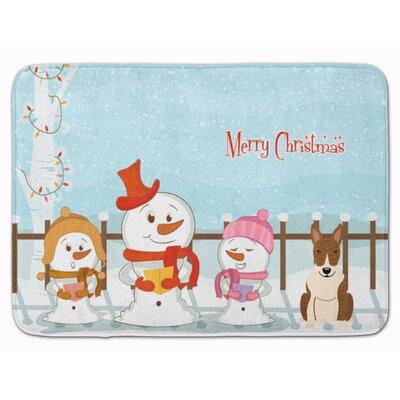 Merry Christmas Bull Terrier Brindle Memory Foam Bath Rug