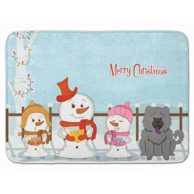 Merry Christmas Carolers Chow Chow Memory Foam Bath Rug Color: Blue