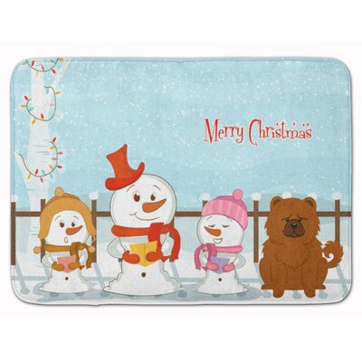 Merry Christmas Carolers Chow Chow Memory Foam Bath Rug Color: Red
