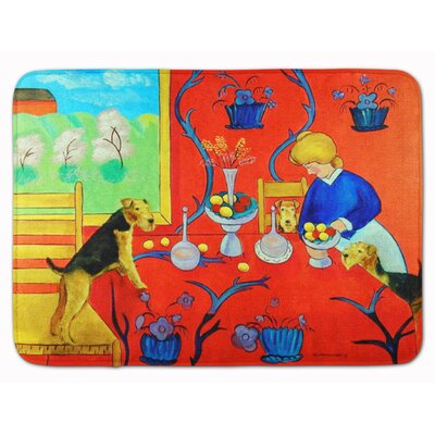 Airedale Terrier with lady in kitchen Memory Foam Bath Rug
