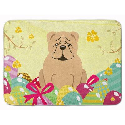 Easter Eggs English Bulldog Fawn White Memory Foam Bath Rug Color: Fawn