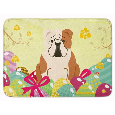 Easter Eggs English Bulldog Fawn White Memory Foam Bath Rug Color: Fawn/White