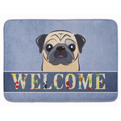 Fawn Pug Welcome Memory Foam Bath Rug Color: Beige