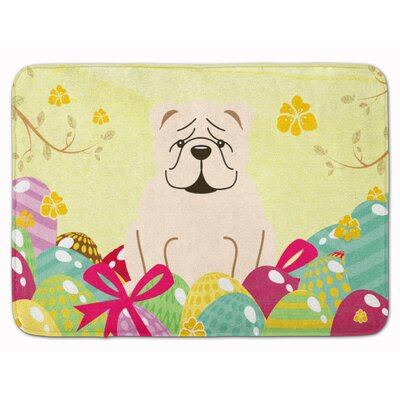Easter Eggs English Bulldog Fawn White Memory Foam Bath Rug Color: White