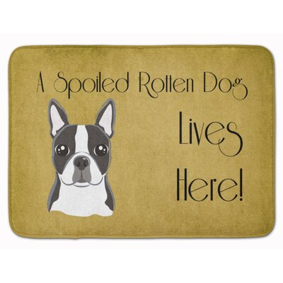 Boston Terrier Spoiled Dog Lives Here Memory Foam Bath Rug