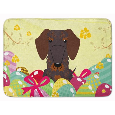 Easter Wire Haired Dachshund Black Tan Memory Foam Bath Rug Color: Chocolate