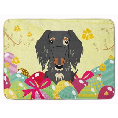 Easter Wire Haired Dachshund Black Tan Memory Foam Bath Rug Color: Gray