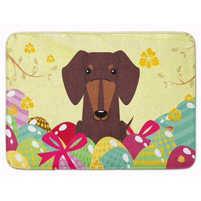 Easter Eggs Dachshund Red Brown Memory Foam Bath Rug Color: Chocolate