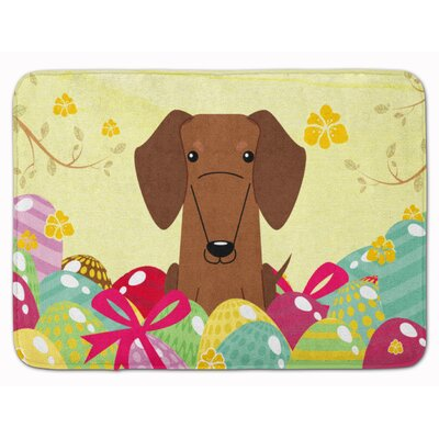 Easter Eggs Dachshund Red Brown Memory Foam Bath Rug Color: Red/Brown