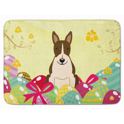 Easter Eggs Bull Terrier Black White Memory Foam Bath Rug Color: Dark Brindle