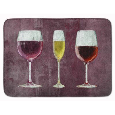 Wine Glasses Memory Foam Bath Rug