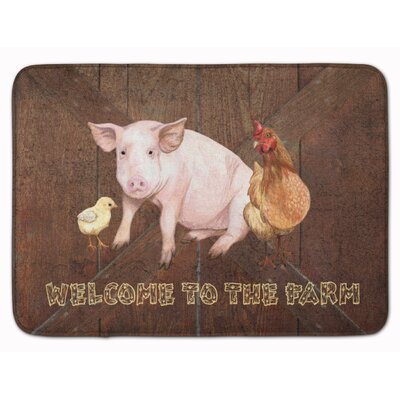 Welcome to Farm with pig and chicken Memory Foam Bath Rug