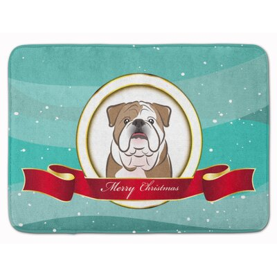 English Bulldog Merry Christmas Memory Foam Bath Rug