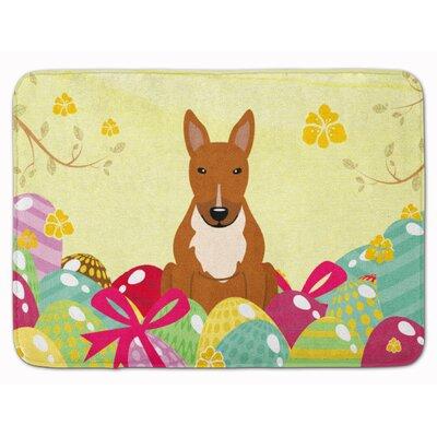 Easter Eggs Bull Terrier Black White Memory Foam Bath Rug Color: Red
