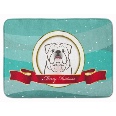 English Bulldog �Merry Christmas Memory Foam Bath Rug