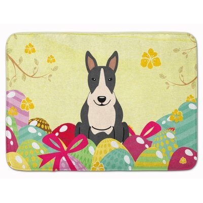 Easter Eggs Bull Terrier Black White Memory Foam Bath Rug Color: Black/White