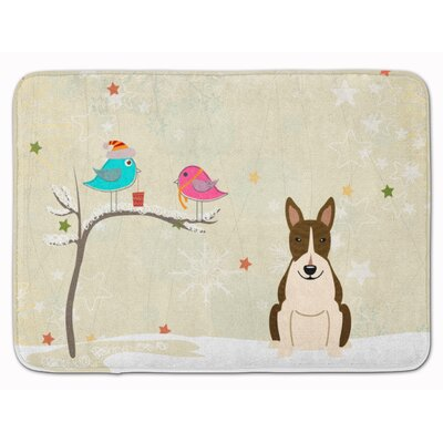 Christmas Bull Terrier Memory Foam Bath Rug Color: White/Brown