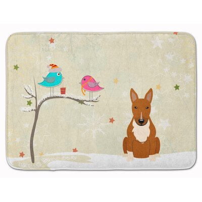 Christmas Presents Bull Terrier Memory Foam Bath Rug Color: Red