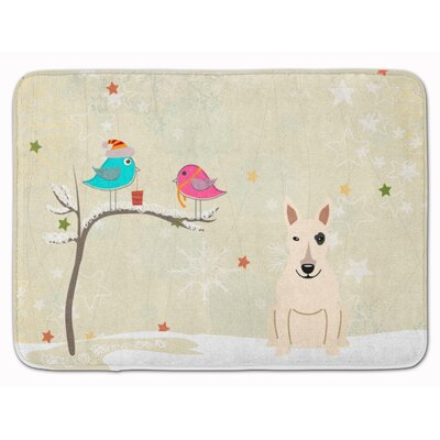Christmas Presents Bull Terrier Memory Foam Bath Rug Color: White