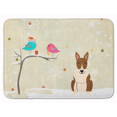 Christmas Presents Bull Terrier Memory Foam Bath Rug Color: White/Brown