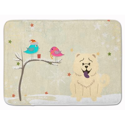 Christmas Presents Chow Chow Memory Foam Bath Rug Color: White