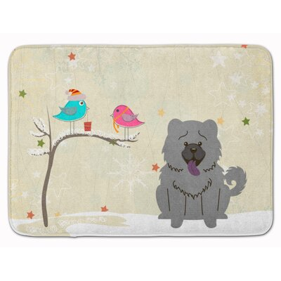 Christmas Presents Chow Chow Memory Foam Bath Rug Color: Blue