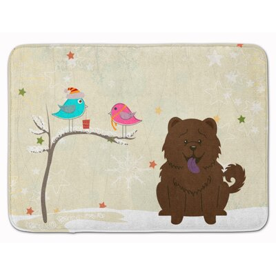 Christmas Presents Chow Chow Memory Foam Bath Rug Color: Chocolate