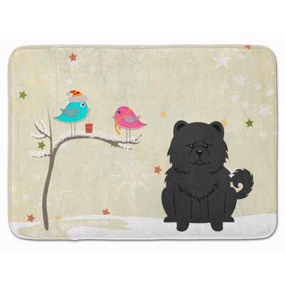 Christmas Presents Friend Chow Chow Memory Foam Bath Rug Color: Black