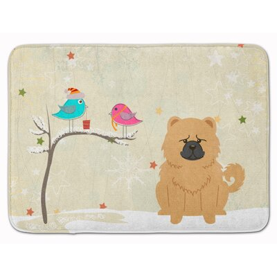 Christmas Presents Friend Chow Chow Memory Foam Bath Rug Color: Cream