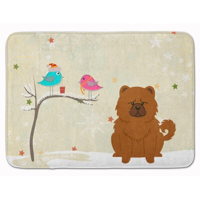 Christmas Presents Friend Chow Chow Memory Foam Bath Rug Color: Red