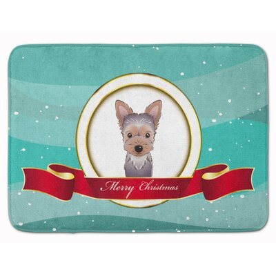 Yorkie Puppy Merry Christmas Memory Foam Bath Rug