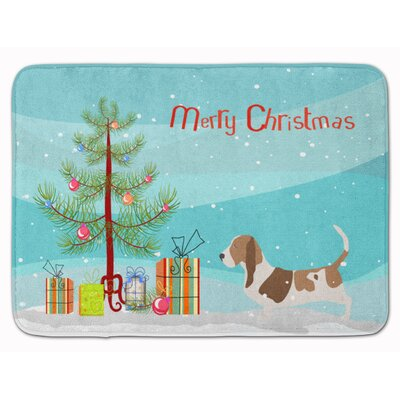 Basset Hound Merry Christmas Tree Memory Foam Bath Rug