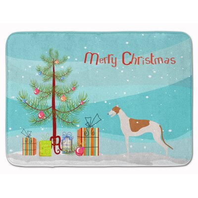 Merry Christmas Greyhound Tree Memory Foam Bath Rug