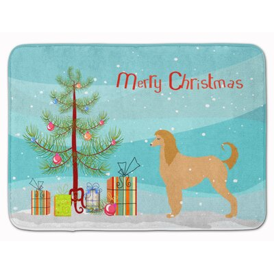 Afghan Hound Merry Christmas Tree Memory Foam Bath Rug