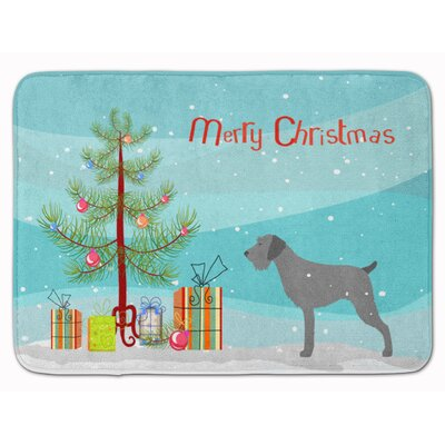 German Wirehaired Pointer Christmas Memory Foam Bath Rug